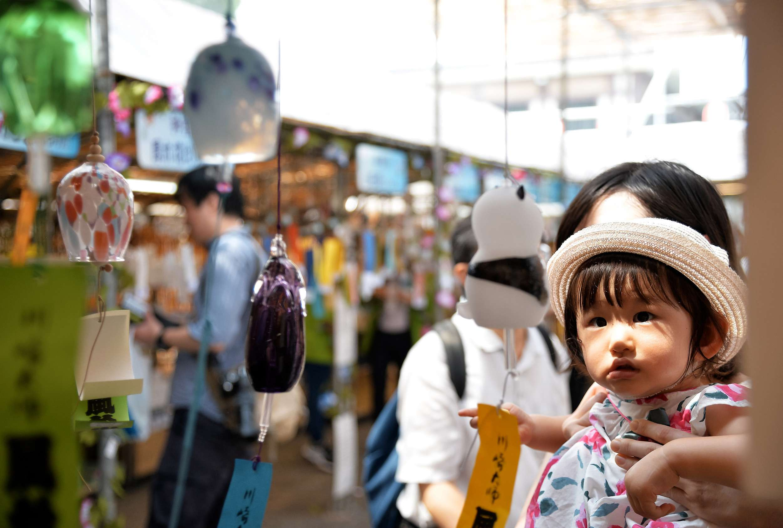 Wind chimes are displayed at the 'wind chimes market' in Japan