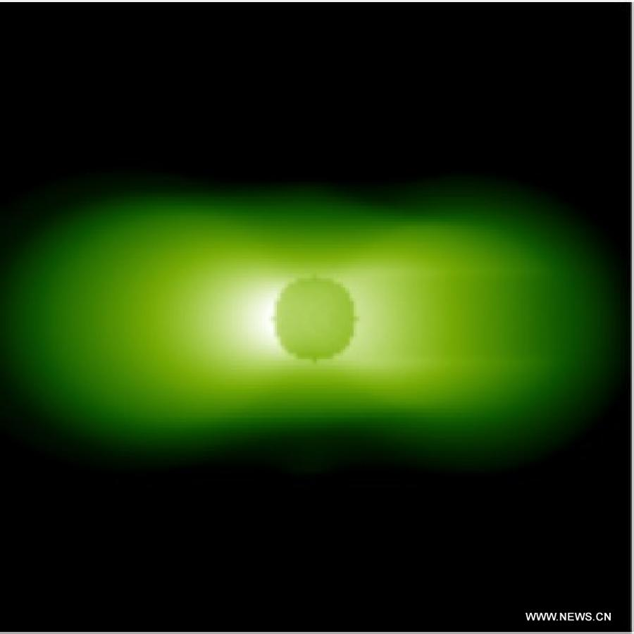 Photo taken by the extreme ultraviolet camera on December 16, 2013 shows the observation of the Earth's plasmasphere during Chang'e-3 lunar probe mission's first lunar day circle. [File photo: Xinhua]