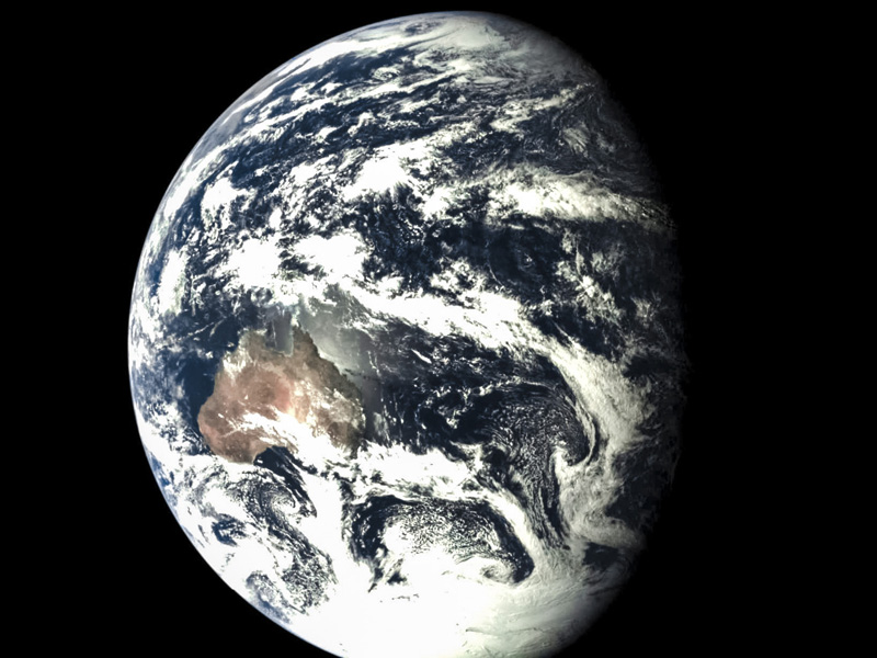 The photo of the Earth taken by the Chang'e 5 test vehicle service module [File photo: China National Space Administration]
