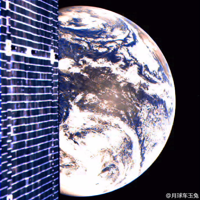 A selfie taken by Chang'e-2 with the Earth [File photo: Official Weibo account of the Yutu moon rover of Chang'e-3]