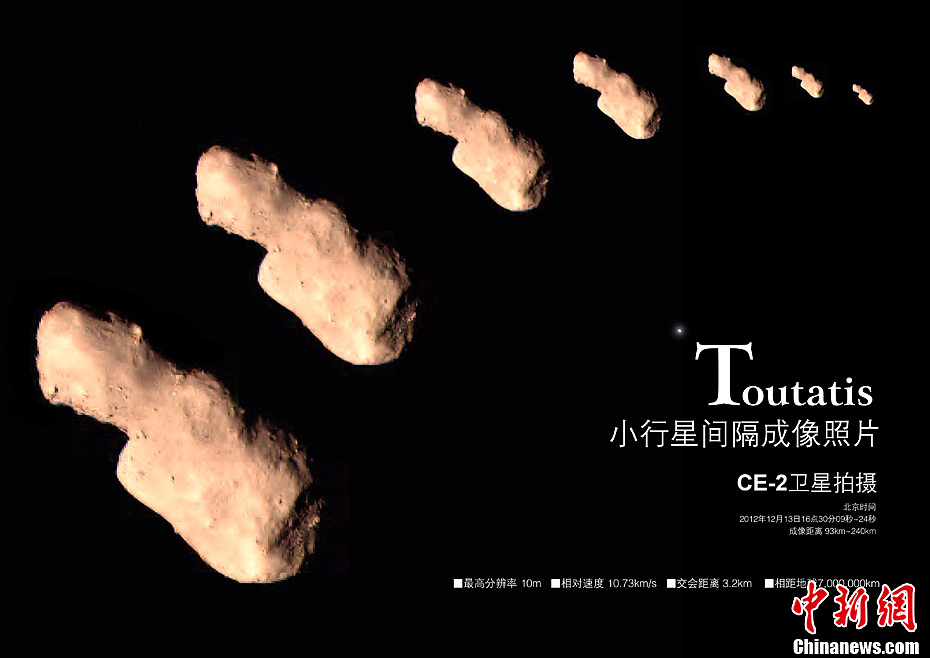 Photos of the Toutatis asteroid captured by Chang'e-2 [File photo: State Administration of Science, Technology and Industry for National Defence]