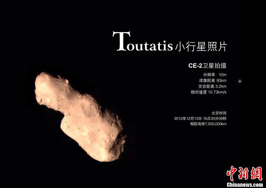 A photo of the Toutatis asteroid captured by Chang'e-2 [File photo: State Administration of Science, Technology and Industry for National Defence]