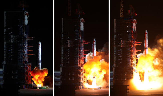 A Long March-4C rocket carrying a relay satellite, named Queqiao (Magpie Bridge), is launched at 5:28 a.m. Beijing Time from Xichang Satellite Launch Center in Sichuan Province on May 21, 2018.  [File photo: cnsa.gov.cn]