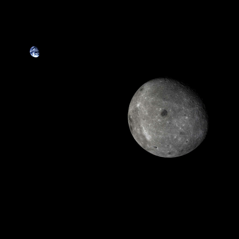 The photo of Earth and the Moon together taken by the Chang'e 5 test vehicle service module on November 9, 2014 [File photo: China National Space Administration]