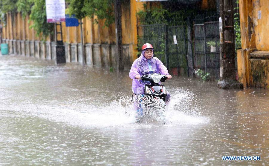 Flood after heavy rain brought by Typhoon Son Tinh in Hanoi, Vietnam