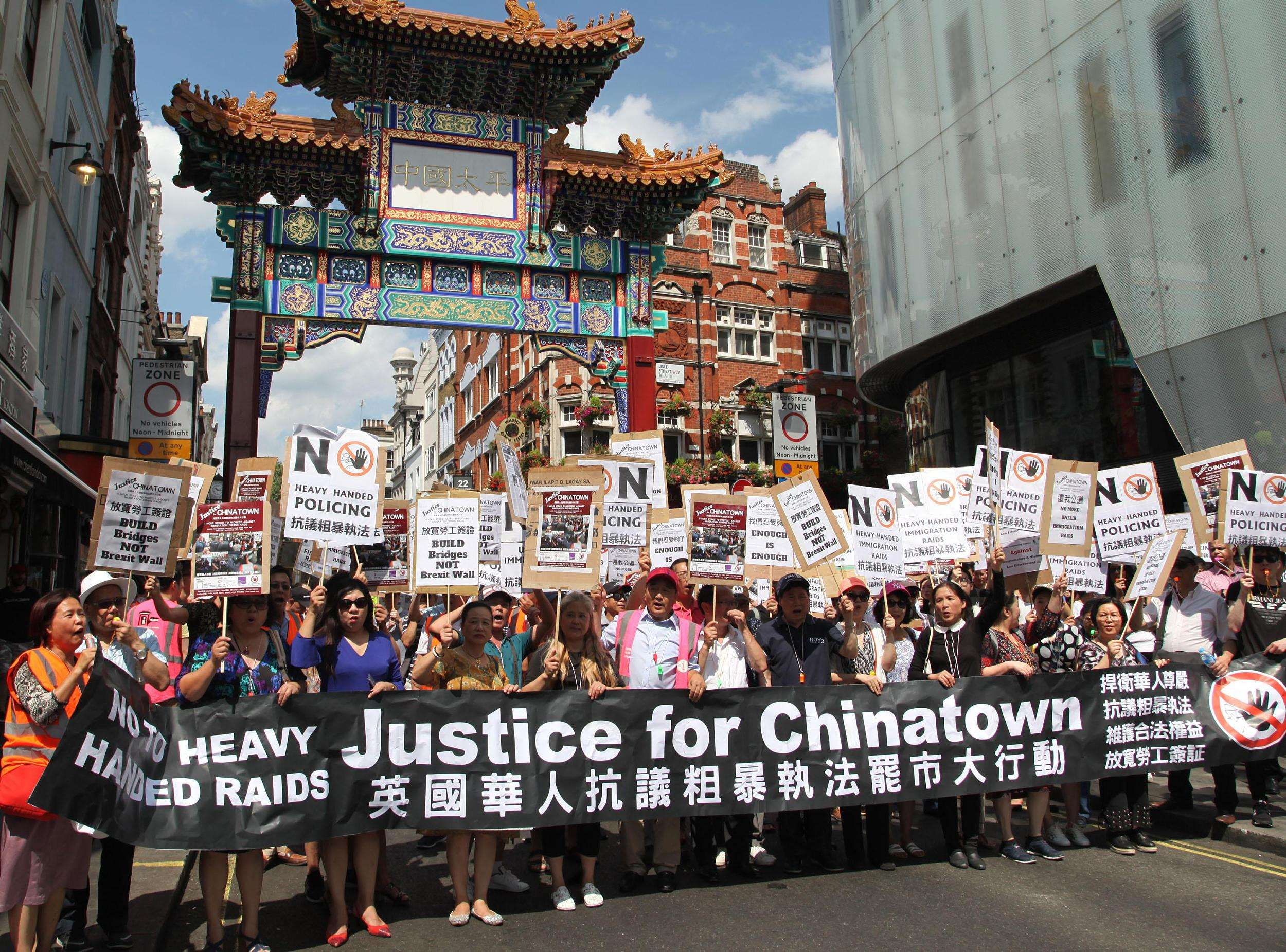 Chinatown businesses shut in protest against Home Office raids