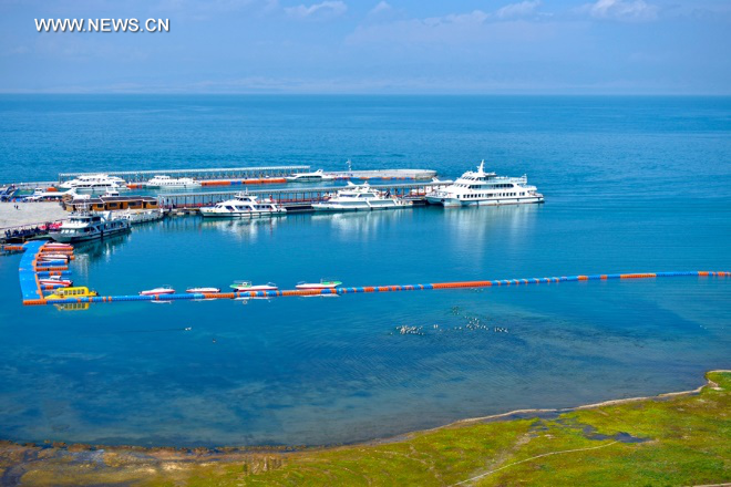 Behind the breathtaking view along 'Tour of Qinghai Lake' route
