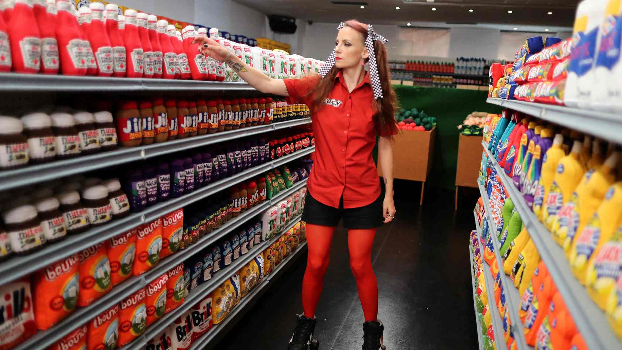 UK artist creates a supermarket made completely of felt