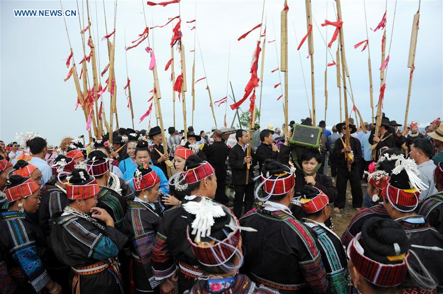 Local people of Miao ethnic group celebrate Qiyu Festival in SW China's Guizhou