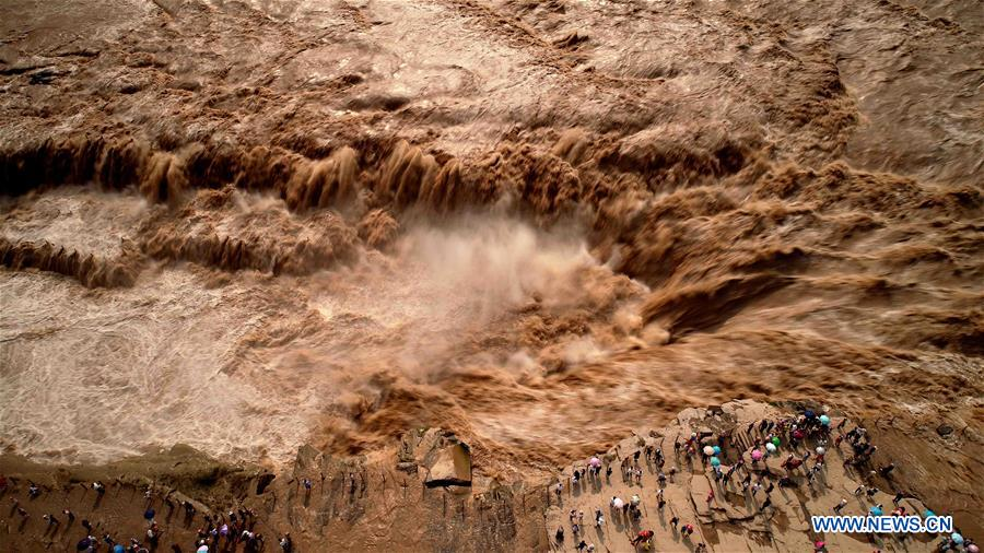 Aerial view of Yellow River's Hukou Waterfall