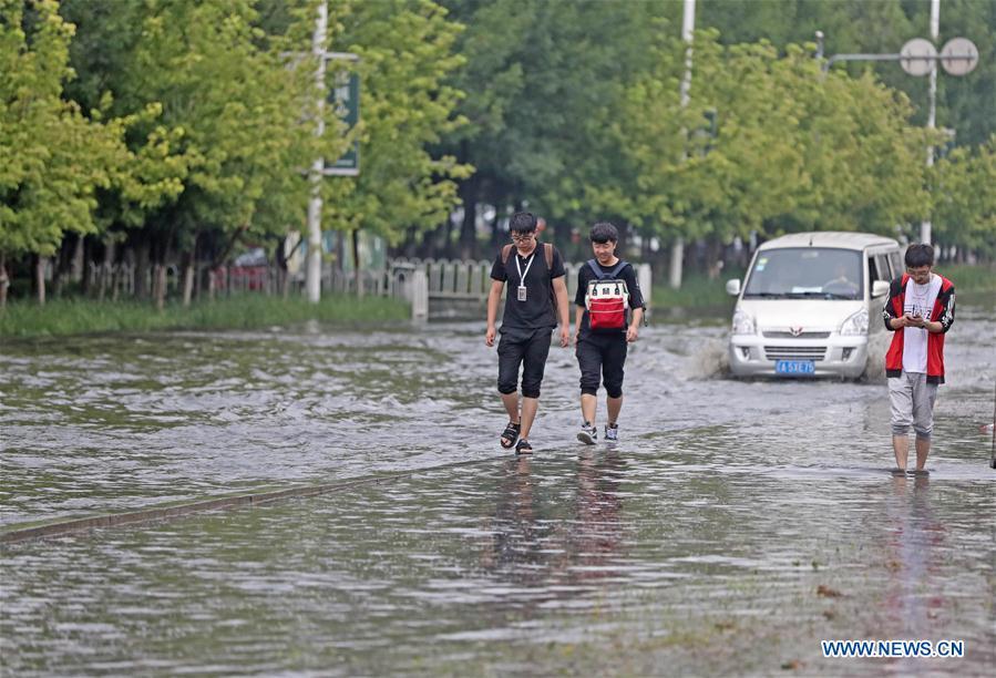 Heavy rainfall causes flood in Shenyang, NE China