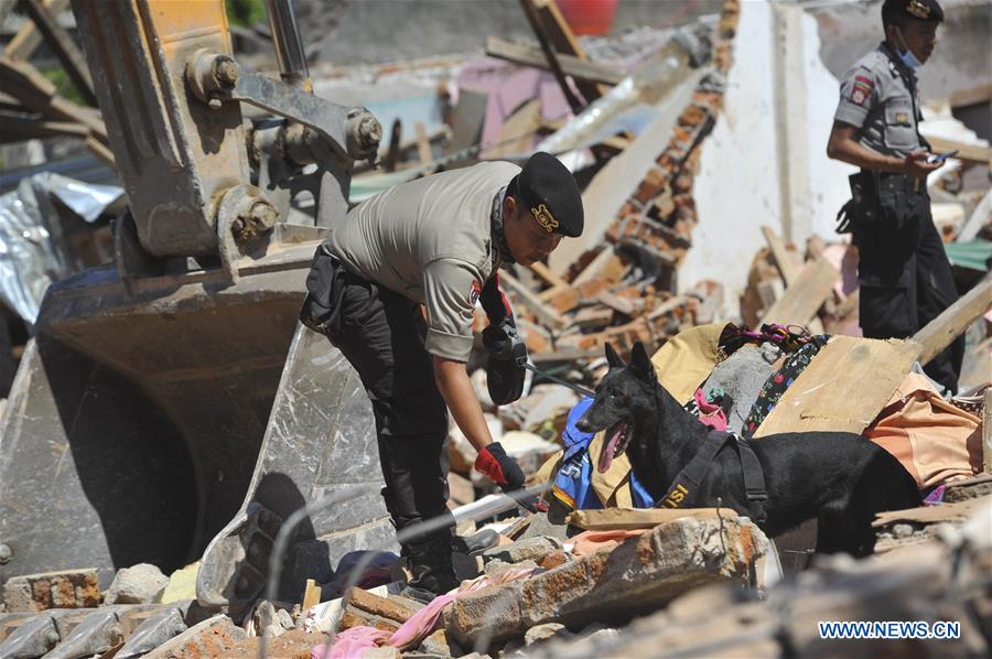 Aftermath of earthquake in North Lombok, Indonesia