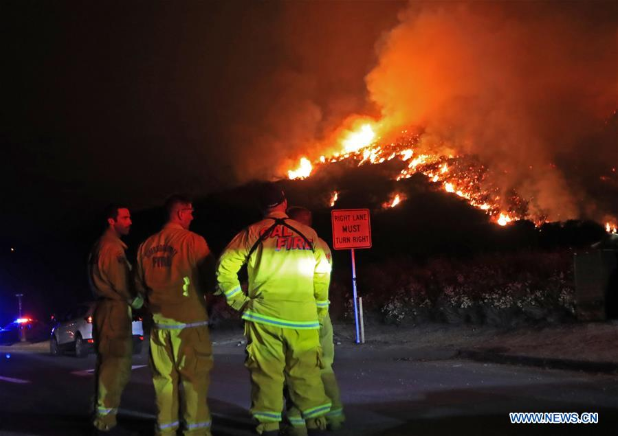 Wildfire burns in Cleveland National Forest in California, U.S.