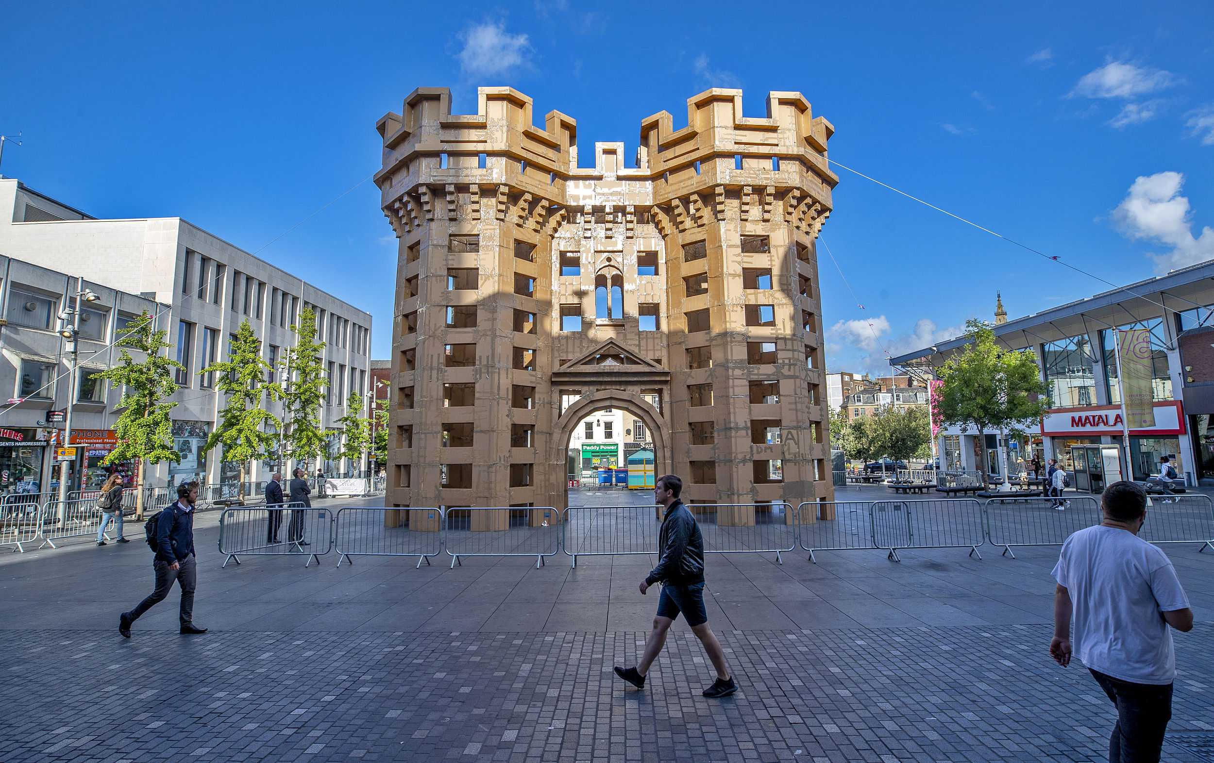 Giant cardboard castles appear in Liverpool, UK