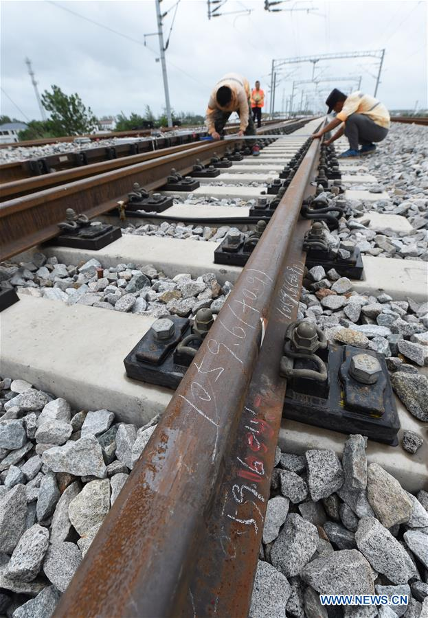 Construction site of Qingdao-Yancheng railway in China's Jiangsu