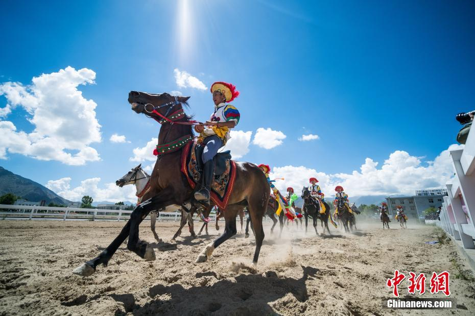 Traditional equestrianism performed at Sho Dun Festival in Tibet