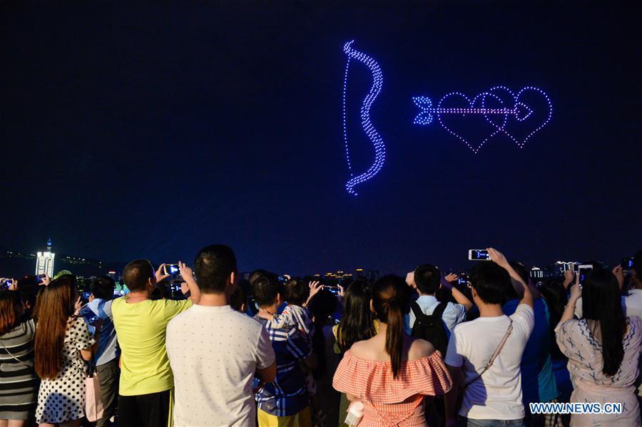 Drones perform light show to greet Qixi festival in Changsha, Hunan