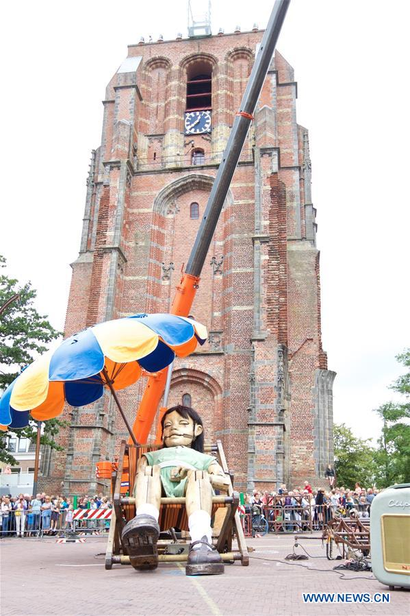 Three marionettes set for show in Leeuwarden of Netherlands