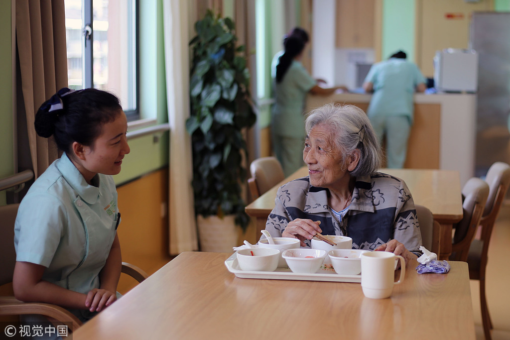 File photo shows a care center for the elderly in Hangzhou. [Photo: IC]