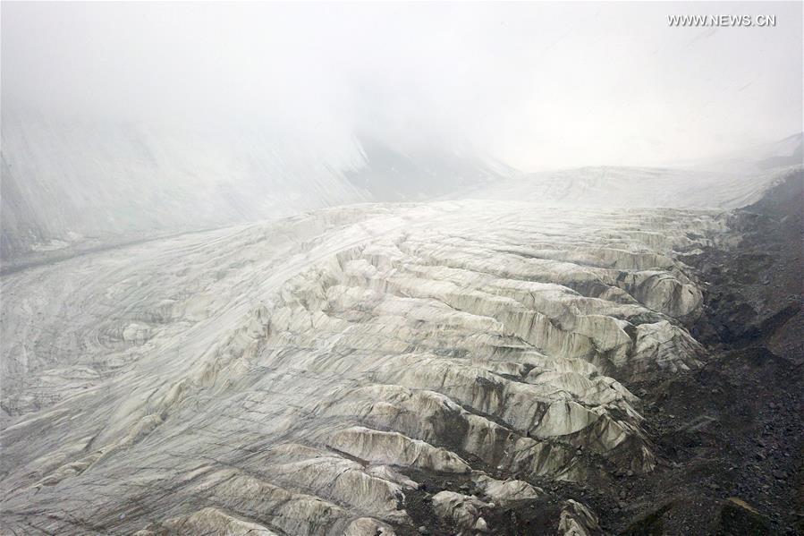 Glacier scenery in Subei Mongolian Autonomous County, NW China's Gansu