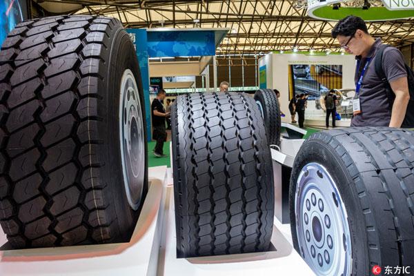 Tyre exhibition during Aluminium China& Lightweight Asia 2018 in Shanghai, Jul.12,2018 [Photo:dfic]
