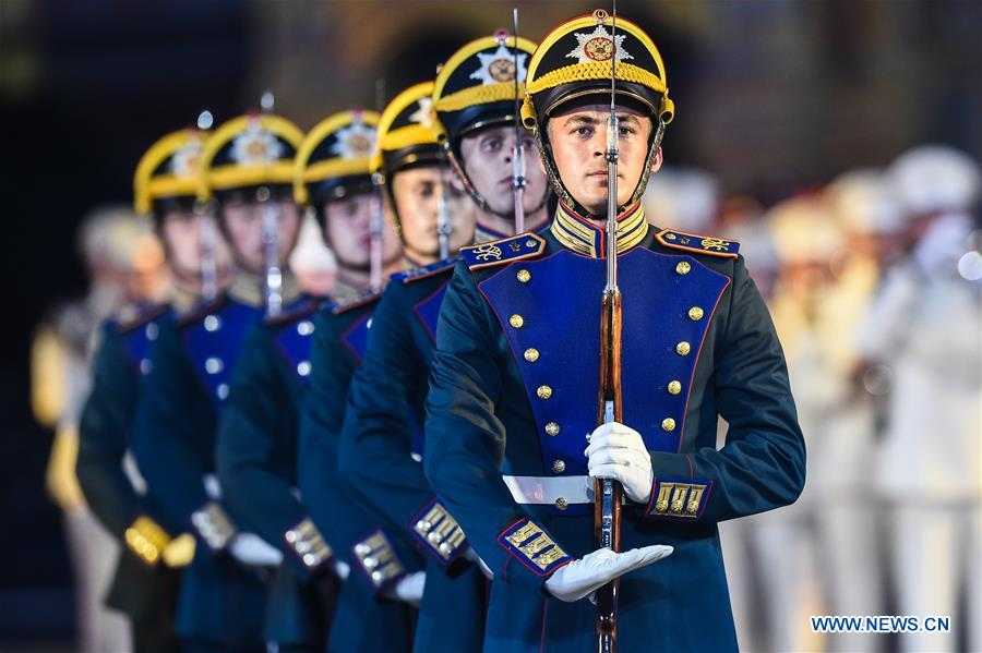Int'l Military Music Festival Spasskaya Tower held on Red Square in Russia