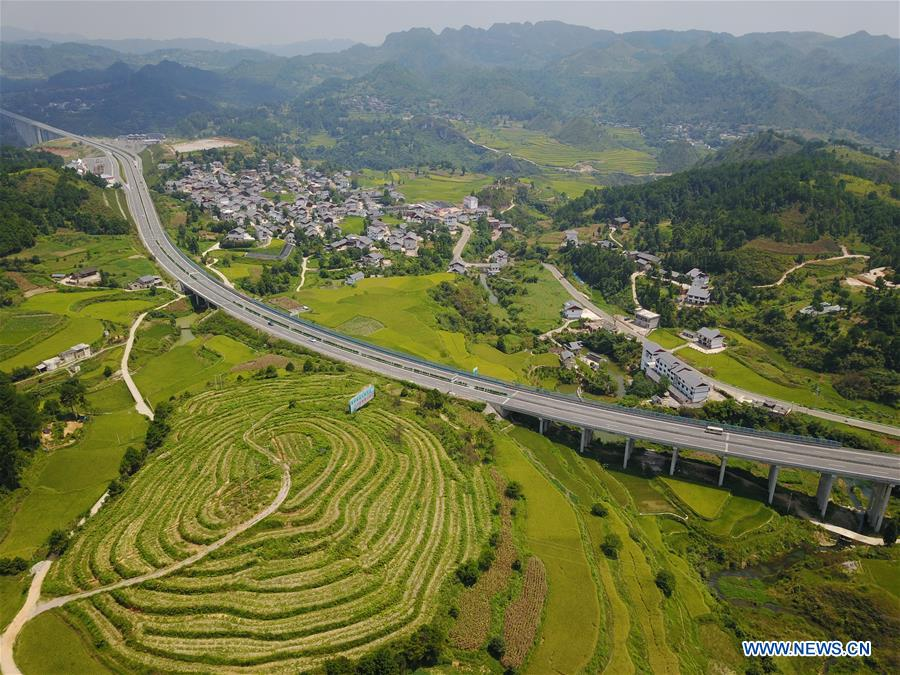 Aerial view of Baini Village in SW China's Guizhou