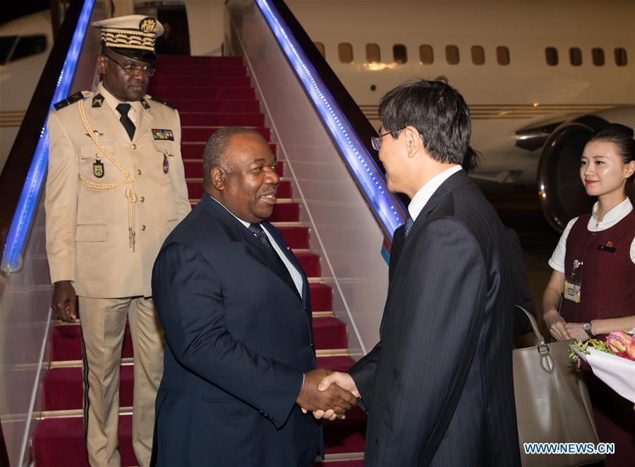 Gabonese president arrives in Beijing for FOCAC
