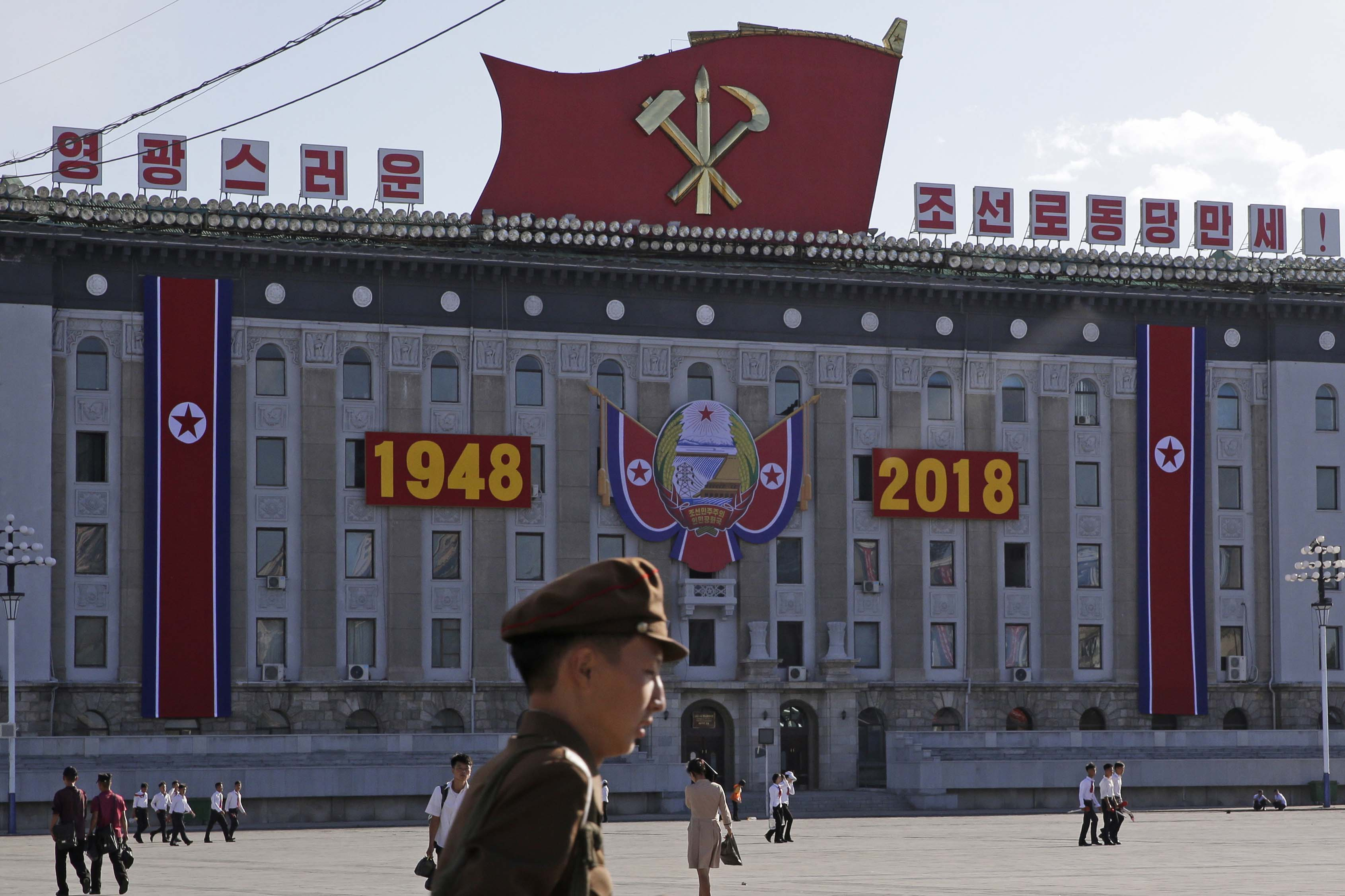 North Korean prepare for the 70th National Founding Day