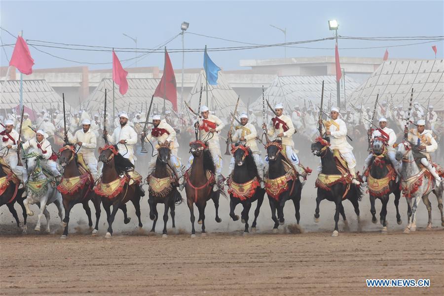 Fantasia horse show held in Bouznika, Morocco