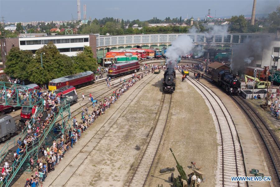 Steam engine race held in Railway Museum in Hungary