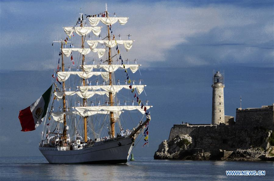 """Ship """"Cuauhtemoc"""" of Mexican Navy arrives at port of Havana in Cuba"""