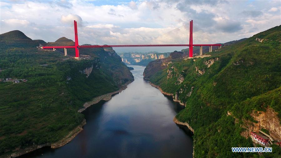 Aerial view of Yachihe Bridge of Guiyang-Qianxi highway in SW China