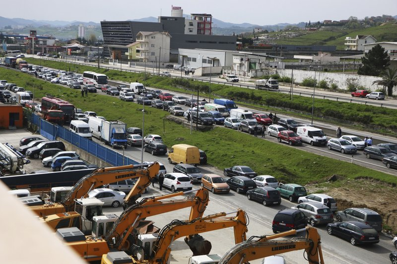 Albanian opposition blocks roads in anti-government protest
