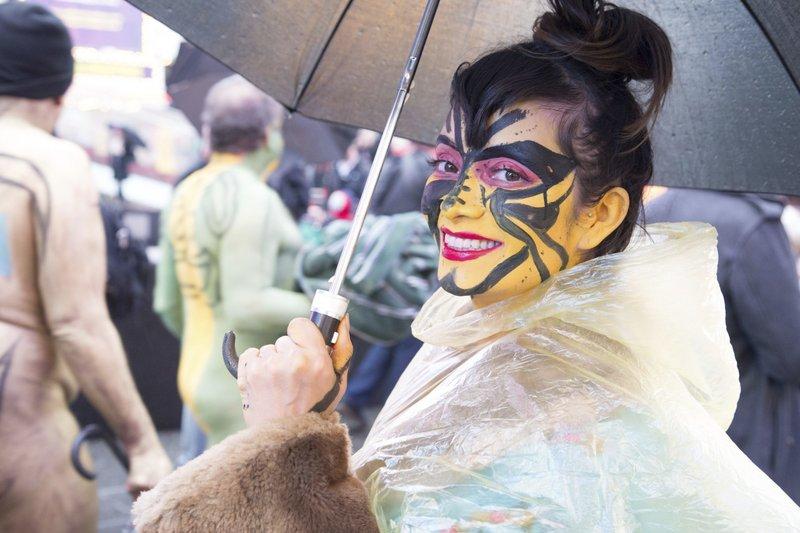 Dozens of nude models brave cold, rain for Polar Bear Paint