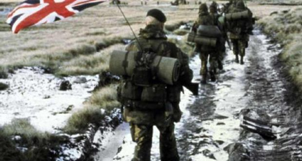 A column of Royal Marine Commandos march towards Port Stanley during the Falklands War in 1982
