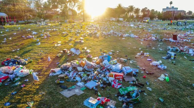 Australian foreshore trashed after appalling drunkenness as thousands gather for Christmas