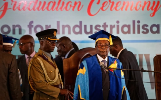 "Zimbabwe military claims arrests, progress in ""weeding out criminals"" around Mugabe as president attends graduation ceremony"