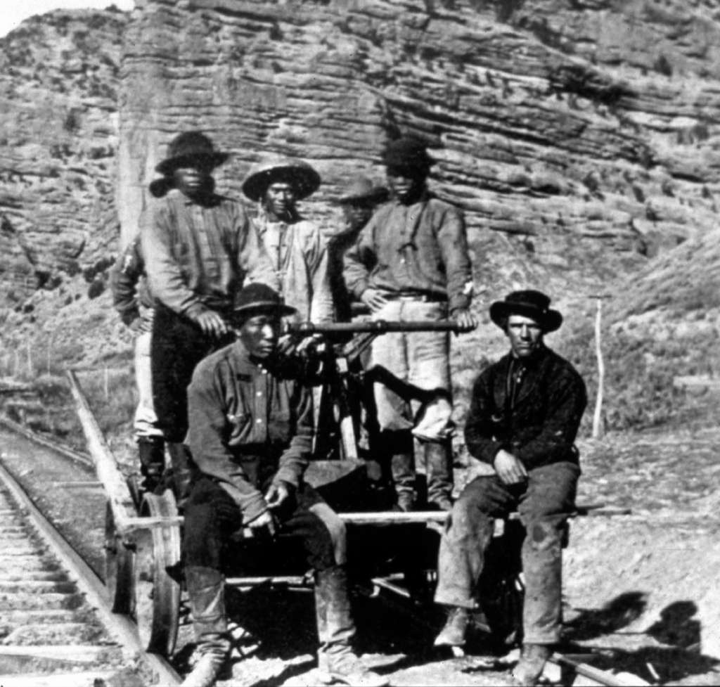 Initially hired for manual labor only, Chinese workers proved able at skilled work immediately. They served as masons, tracklayers and foremen. Photo: Denver Public Library, Courtesy