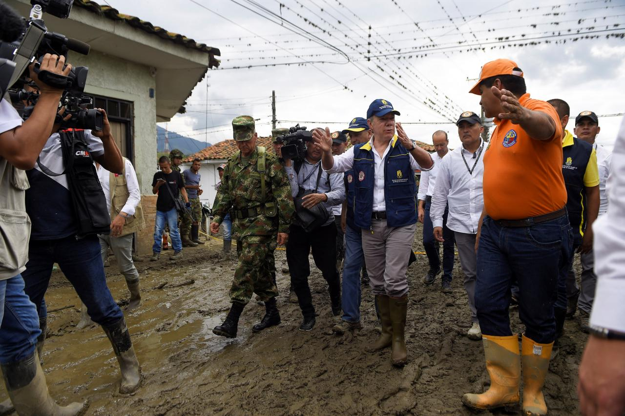 At least four dead, 18 missing in Colombia landslide