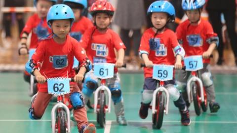 Kids gather for push-bike showdown