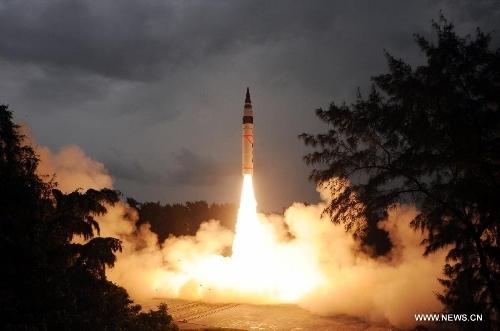 India test-fires nuclear capable Agni-V ballistic missile