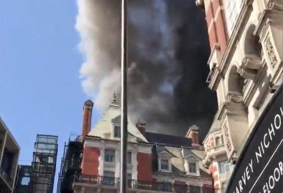 Over 100 firefighters called to blaze on roof of London Mandarin Oriental hotel