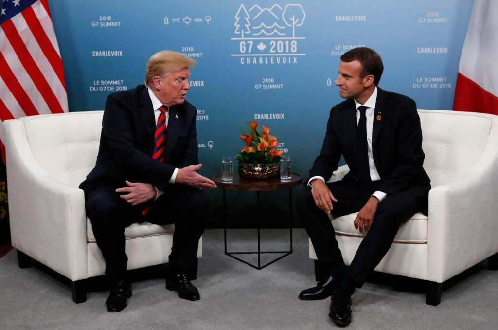 France's Macron sees way forward on trade, Trump says working together
