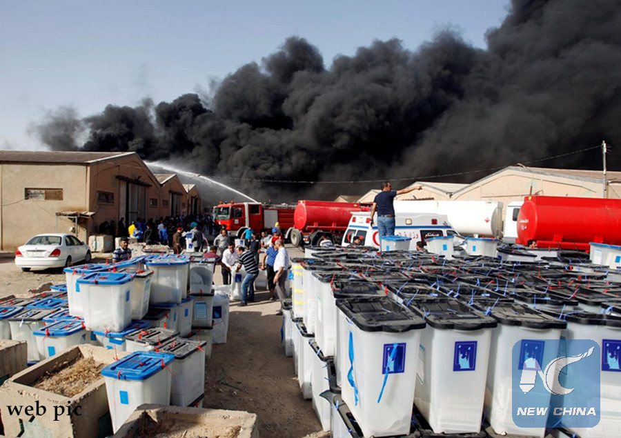 Huge fire breaks out in warehouses of electoral commission in Baghdad