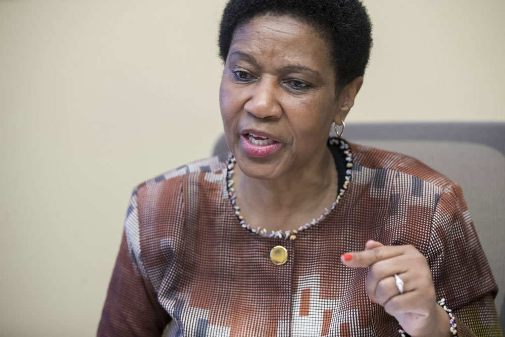 Phumzile Mlambo-Ngcuka, United Nations Under-Secretary-General and Executive Director of U.N. Women, speaks during an interview with The Associated Press, Wednesday, March 7, 2018, in New York.[Photo: AP/Mary Altaffer]