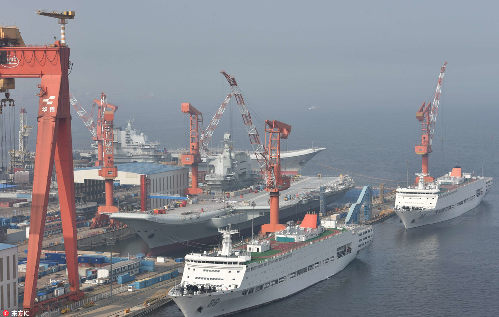 Aircraft carriers converge in Dalian