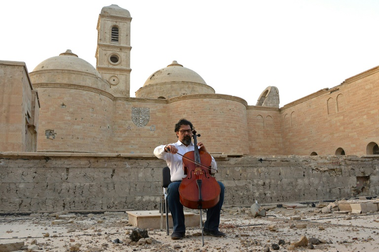 Cellist brings sounds of 'peace, coexistence' to ruins of Iraq's Mosul