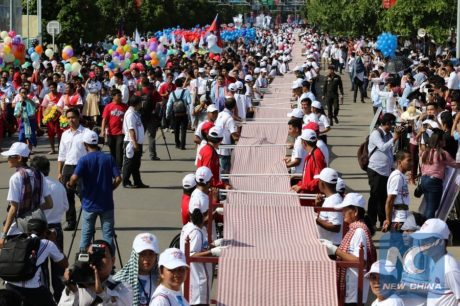 Cambodia's longest hand-woven scarf gains Guinness World Records
