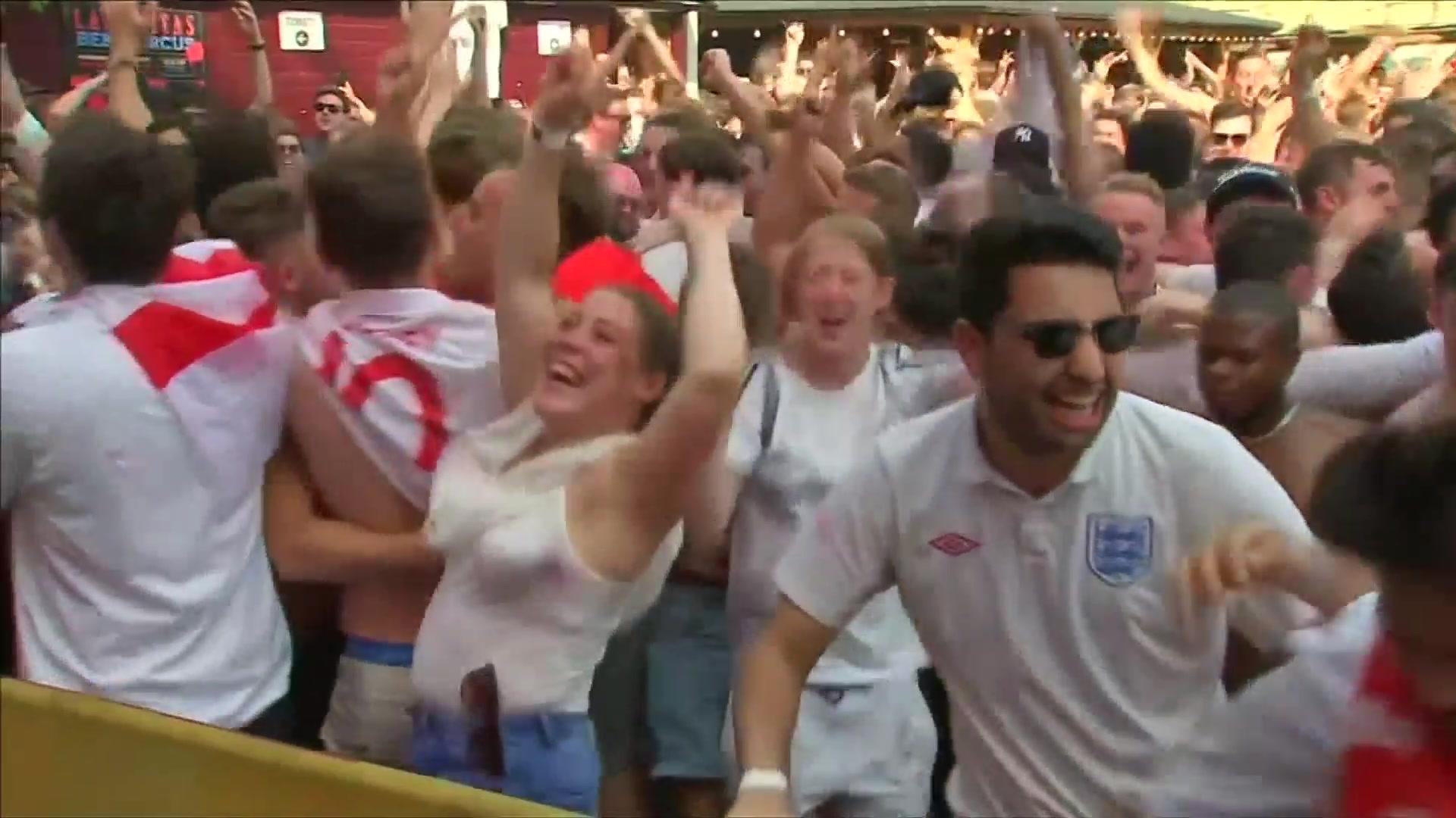 England fan throwing freshly poured pints